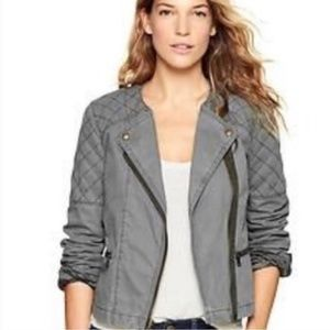 Gap olive green quilted moto jacket